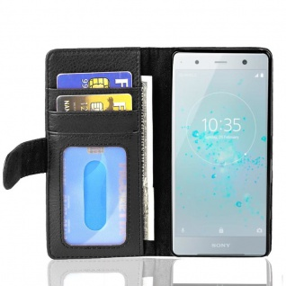 Cadorabo Hülle für Sony Xperia XZ2 Compact in OXID SCHWARZ ? Handyhülle mit Magnetverschluss und 3 Kartenfächern ? Case Cover Schutzhülle Etui Tasche Book Klapp Style