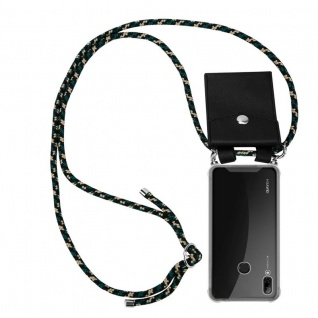 Cadorabo Handy Kette für Huawei P SMART 2019 in CAMOUFLAGE - Silikon Necklace Umhänge Hülle mit Silber Ringen, Kordel Band Schnur und abnehmbarem Etui - Schutzhülle