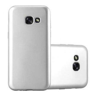Cadorabo Hülle für Samsung Galaxy A3 2017 in METALLIC SILBER - Handyhülle aus flexiblem TPU Silikon - Silikonhülle Schutzhülle Ultra Slim Soft Back Cover Case Bumper