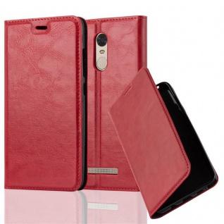 Cadorabo Hülle für Xiaomi Red Mi NOTE 3 in APFEL ROT - Handyhülle mit Magnetverschluss, Standfunktion und Kartenfach - Case Cover Schutzhülle Etui Tasche Book Klapp Style