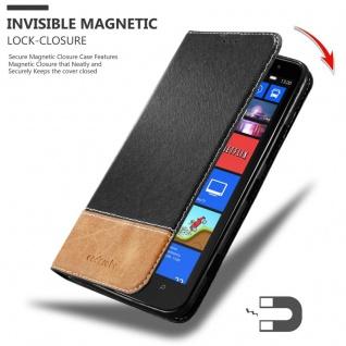 Cadorabo Hülle für Nokia Lumia 1320 in SCHWARZ BRAUN - Handyhülle mit Magnetverschluss, Standfunktion und Kartenfach - Case Cover Schutzhülle Etui Tasche Book Klapp Style - Vorschau 3