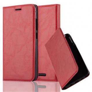 Cadorabo Hülle für WIKO JERRY in APFEL ROT Handyhülle mit Magnetverschluss, Standfunktion und Kartenfach Case Cover Schutzhülle Etui Tasche Book Klapp Style