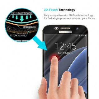 Cadorabo Vollbild Panzer Folie für Samsung Galaxy S7 - Schutzfolie in TRANSPARENT mit SCHWARZ - Gehärtetes (Tempered) Display-Schutzglas in 9H Härte mit 3D Touch Kompatibilität - Vorschau 5