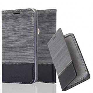 Cadorabo Hülle für WIKO VIEW 2 in GRAU SCHWARZ Handyhülle mit Magnetverschluss, Standfunktion und Kartenfach Case Cover Schutzhülle Etui Tasche Book Klapp Style
