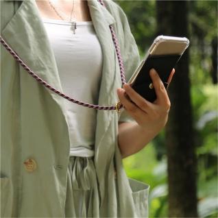Cadorabo Handy Kette für HTC Desire 10 PRO in ROT WEISS - Silikon Necklace Umhänge Hülle mit Gold Ringen, Kordel Band Schnur und abnehmbarem Etui ? Schutzhülle - Vorschau 3