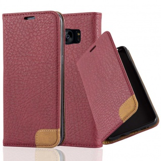 Cadorabo Hülle für Samsung Galaxy S7 EDGE - Hülle in HERBST ROT ? Handyhülle mit Standfunktion, Kartenfach und Textil-Patch - Case Cover Schutzhülle Etui Tasche Book Klapp Style