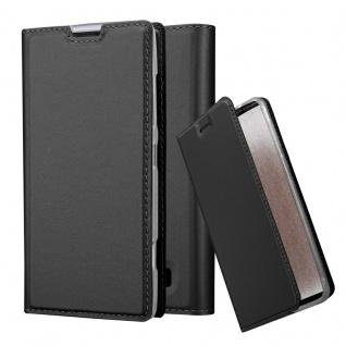 Cadorabo Hülle für Nokia Lumia 520 in CLASSY SCHWARZ - Handyhülle mit Magnetverschluss, Standfunktion und Kartenfach - Case Cover Schutzhülle Etui Tasche Book Klapp Style