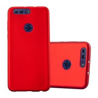 Cadorabo Hülle für Honor 8 in METALLIC ROT - Handyhülle aus flexiblem TPU Silikon - Silikonhülle Schutzhülle Ultra Slim Soft Back Cover Case Bumper