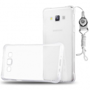 Cadorabo Hülle für Samsung Galaxy A7 2015 - Hülle in KOMPLETT TRANSPARENT ? Handyhülle aus TPU Silikon mit Schlaufe im Small Waist Design - Silikonhülle Schutzhülle Ultra Slim Soft Back Cover Case Bumper