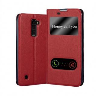 Cadorabo Hülle für LG K10 2016 in SAFRAN ROT - Handyhülle mit Magnetverschluss, Standfunktion und 2 Sichtfenstern - Case Cover Schutzhülle Etui Tasche Book Klapp Style