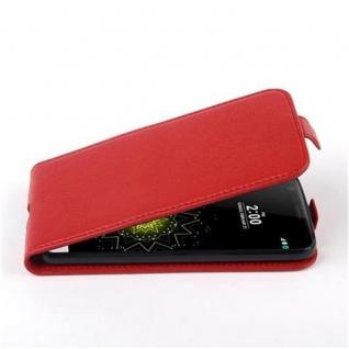 Cadorabo Hülle für LG G5 - Hülle in INFERNO ROT ? Handyhülle aus strukturiertem Kunstleder im Flip Design - Case Cover Schutzhülle Etui Tasche