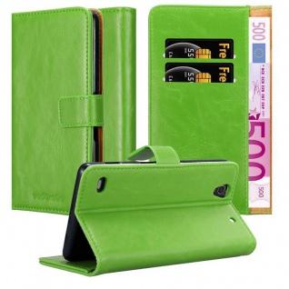 Cadorabo Hülle für Sony Xperia C4 in GRAS GRÜN ? Handyhülle mit Magnetverschluss, Standfunktion und Kartenfach ? Case Cover Schutzhülle Etui Tasche Book Klapp Style