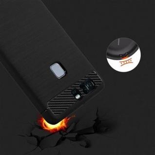Cadorabo Hülle für Huawei P9 - Hülle in BRUSHED SCHWARZ - Handyhülle aus TPU Silikon in Edelstahl-Karbonfaser Optik - Silikonhülle Schutzhülle Ultra Slim Soft Back Cover Case Bumper - Vorschau 5