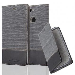 Cadorabo Hülle für Huawei Y6 PRO 2017 in GRAU SCHWARZ - Handyhülle mit Magnetverschluss, Standfunktion und Kartenfach - Case Cover Schutzhülle Etui Tasche Book Klapp Style