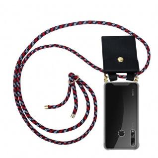 Cadorabo Handy Kette für Huawei P SMART PLUS 2019 in ROT BLAU WEISS Silikon Necklace Umhänge Hülle mit Gold Ringen, Kordel Band Schnur und abnehmbarem Etui Schutzhülle
