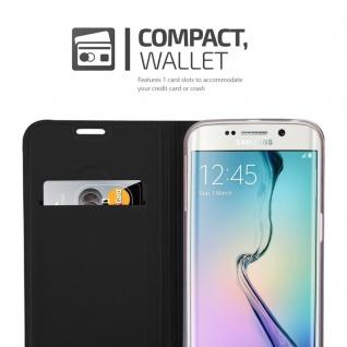 Cadorabo Hülle für Samsung Galaxy S6 EDGE PLUS in CLASSY SCHWARZ - Handyhülle mit Magnetverschluss, Standfunktion und Kartenfach - Case Cover Schutzhülle Etui Tasche Book Klapp Style - Vorschau 3