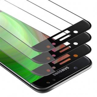 Cadorabo 3x Vollbild Panzer Folie für Samsung Galaxy J7 2018 - Schutzfolie in TRANSPARENT mit SCHWARZ - 3er Pack Gehärtetes (Tempered) Display-Schutzglas in 9H Härte mit 3D Touch