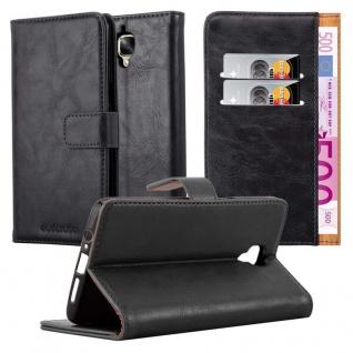 Cadorabo Hülle für OnePlus 3 / 3T in GRAPHIT SCHWARZ ? Handyhülle mit Magnetverschluss, Standfunktion und Kartenfach ? Case Cover Schutzhülle Etui Tasche Book Klapp Style