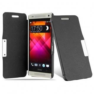 Cadorabo Hülle für HTC ONE MINI M4 - Hülle in KAVIAR SCHWARZ - Handyhülle mit Magnetverschluss im Ultra Slim Book Design - Hard Case Book Etui Schutzhülle Tasche Cover