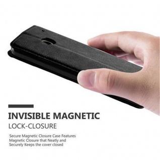 Cadorabo Hülle für HTC ONE M7 (1.Generation) in NACHT SCHWARZ - Handyhülle mit Magnetverschluss, Standfunktion und Kartenfach - Case Cover Schutzhülle Etui Tasche Book Klapp Style - Vorschau 5