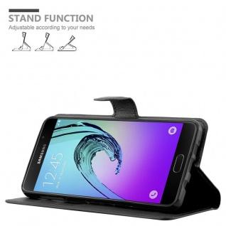 Cadorabo Hülle für Samsung Galaxy A7 2016 in PHANTOM SCHWARZ - Handyhülle mit Magnetverschluss, Standfunktion und Kartenfach - Case Cover Schutzhülle Etui Tasche Book Klapp Style - Vorschau 5