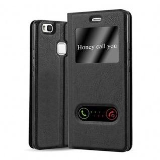 Cadorabo Hülle für Huawei P9 LITE in KOMETEN SCHWARZ - Handyhülle mit Magnetverschluss, Standfunktion und 2 Sichtfenstern - Case Cover Schutzhülle Etui Tasche Book Klapp Style