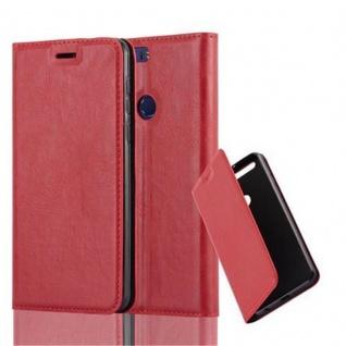 Cadorabo Hülle für Honor 8 in APFEL ROT - Handyhülle mit Magnetverschluss, Standfunktion und Kartenfach - Case Cover Schutzhülle Etui Tasche Book Klapp Style