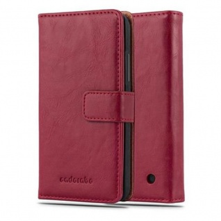Cadorabo Hülle für Nokia Lumia 640 in WEIN ROT - Handyhülle mit Magnetverschluss, Standfunktion und Kartenfach - Case Cover Schutzhülle Etui Tasche Book Klapp Style