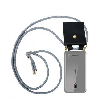 Cadorabo Handy Kette für Nokia 2.2 in SILBER GRAU Silikon Necklace Umhänge Hülle mit Gold Ringen, Kordel Band Schnur und abnehmbarem Etui Schutzhülle