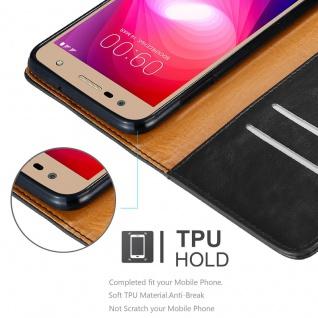 Cadorabo Hülle für LG X Power 2 in GRAPHIT SCHWARZ - Handyhülle mit Magnetverschluss, Standfunktion und Kartenfach - Case Cover Schutzhülle Etui Tasche Book Klapp Style - Vorschau 3
