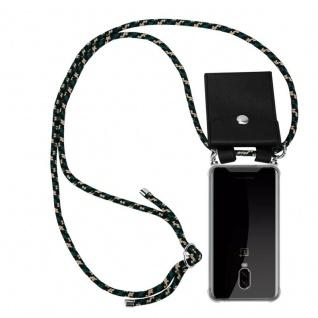 Cadorabo Handy Kette für OnePlus 6T in CAMOUFLAGE Silikon Necklace Umhänge Hülle mit Silber Ringen, Kordel Band Schnur und abnehmbarem Etui Schutzhülle