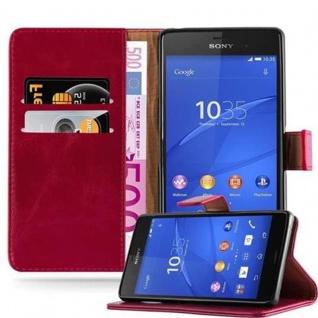 Cadorabo Hülle für Sony Xperia Z3 in WEIN ROT - Handyhülle mit Magnetverschluss, Standfunktion und Kartenfach - Case Cover Schutzhülle Etui Tasche Book Klapp Style