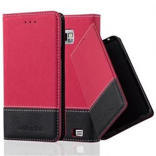 Cadorabo Hülle für Samsung Galaxy S2 / S2 PLUS in ROT SCHWARZ ? Handyhülle mit Magnetverschluss, Standfunktion und Kartenfach ? Case Cover Schutzhülle Etui Tasche Book Klapp Style