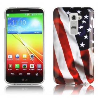 Cadorabo - Hard Cover für LG G2 - Case Cover Schutzhülle Bumper im Design: STARS AND STRIPES