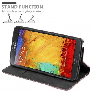 Cadorabo Hülle für Samsung Galaxy NOTE 3 in GOLD SCHWARZ ? Handyhülle mit Magnetverschluss, Standfunktion und Kartenfach ? Case Cover Schutzhülle Etui Tasche Book Klapp Style - Vorschau 4
