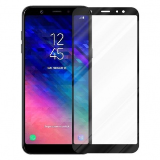 Cadorabo Vollbild Panzer Folie für Samsung Galaxy A6 PLUS 2018 - Schutzfolie in TRANSPARENT mit SCHWARZ - Gehärtetes (Tempered) Display-Schutzglas in 9H Härte mit 3D Touch Kompatibilität - Vorschau 2