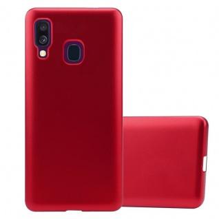 Cadorabo Hülle für Samsung Galaxy A40 in METALLIC ROT - Handyhülle aus flexiblem TPU Silikon - Silikonhülle Schutzhülle Ultra Slim Soft Back Cover Case Bumper