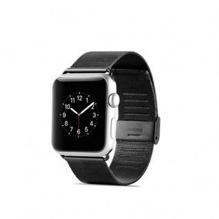 Cadorabo Edelstahl Armband für 42 mm Apple Watch Series 1 & Apple Watch Series 2 & Apple Watch Series 3 - Wrist Band in SCHWARZ - Uhr Zubehör Smartwatch iWatch