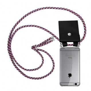 Cadorabo Handy Kette für Apple iPhone 6 PLUS / iPhone 6S PLUS in ROT WEISS Silikon Necklace Umhänge Hülle mit Silber Ringen, Kordel Band Schnur und abnehmbarem Etui Schutzhülle