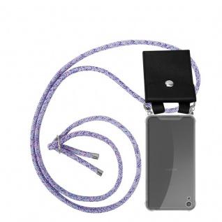 Cadorabo Handy Kette für Sony Xperia XA in UNICORN Silikon Necklace Umhänge Hülle mit Silber Ringen, Kordel Band Schnur und abnehmbarem Etui Schutzhülle
