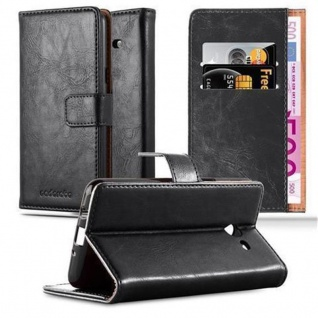 Cadorabo Hülle für Samsung Galaxy J3 2017 US Version in GRAPHIT SCHWARZ - Handyhülle mit Magnetverschluss, Standfunktion und Kartenfach - Case Cover Schutzhülle Etui Tasche Book Klapp Style