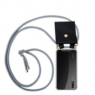 Cadorabo Handy Kette für Huawei P20 in SILBER GRAU - Silikon Necklace Umhänge Hülle mit Gold Ringen, Kordel Band Schnur und abnehmbarem Etui ? Schutzhülle