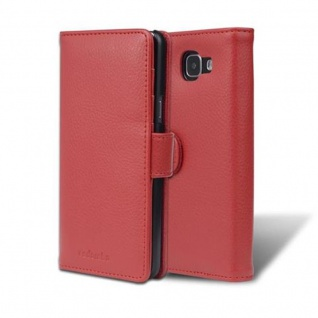Cadorabo Hülle für Samsung Galaxy A5 2016 in INFERNO ROT ? Handyhülle mit Magnetverschluss und 3 Kartenfächern ? Case Cover Schutzhülle Etui Tasche Book Klapp Style
