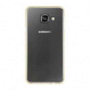 Cadorabo Hülle für Samsung Galaxy A3 2016 (6) - Hülle in TRANSPARENT GOLD - Handyhülle aus TPU Silikon im Strass Design - Silikonhülle Schutzhülle Ultra Slim Soft Back Cover Case Bumper - Vorschau 2