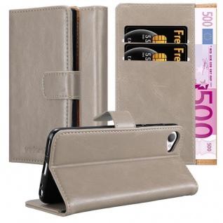 Cadorabo Hülle für HTC Desire 12 in CAPPUCCINO BRAUN ? Handyhülle mit Magnetverschluss, Standfunktion und Kartenfach ? Case Cover Schutzhülle Etui Tasche Book Klapp Style