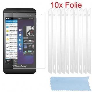 Cadorabo Displayschutzfolien für Blackberry Z10 - Schutzfolien in HIGH CLEAR ? 10 Stück hochtransparenter Schutzfolien gegen Staub, Schmutz und Kratzer