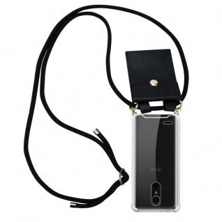 Cadorabo Handy Kette für LG K10 2017 in SCHWARZ ? Silikon Necklace Umhänge Hülle mit Gold Ringen, Kordel Band Schnur und abnehmbarem Etui ? Schutzhülle