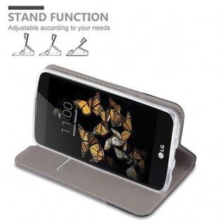 Cadorabo Hülle für LG K8 2016 in GRAU SCHWARZ - Handyhülle mit Magnetverschluss, Standfunktion und Kartenfach - Case Cover Schutzhülle Etui Tasche Book Klapp Style - Vorschau 5