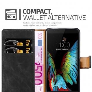 Cadorabo Hülle für LG K10 2016 in GRAPHIT SCHWARZ - Handyhülle mit Magnetverschluss, Standfunktion und Kartenfach - Case Cover Schutzhülle Etui Tasche Book Klapp Style - Vorschau 5