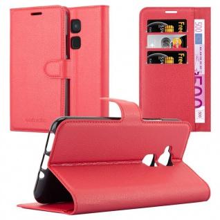 Cadorabo Hülle für BQ Aquaris V / Vs Plus in KARMIN ROT - Handyhülle mit Magnetverschluss, Standfunktion und Kartenfach - Case Cover Schutzhülle Etui Tasche Book Klapp Style